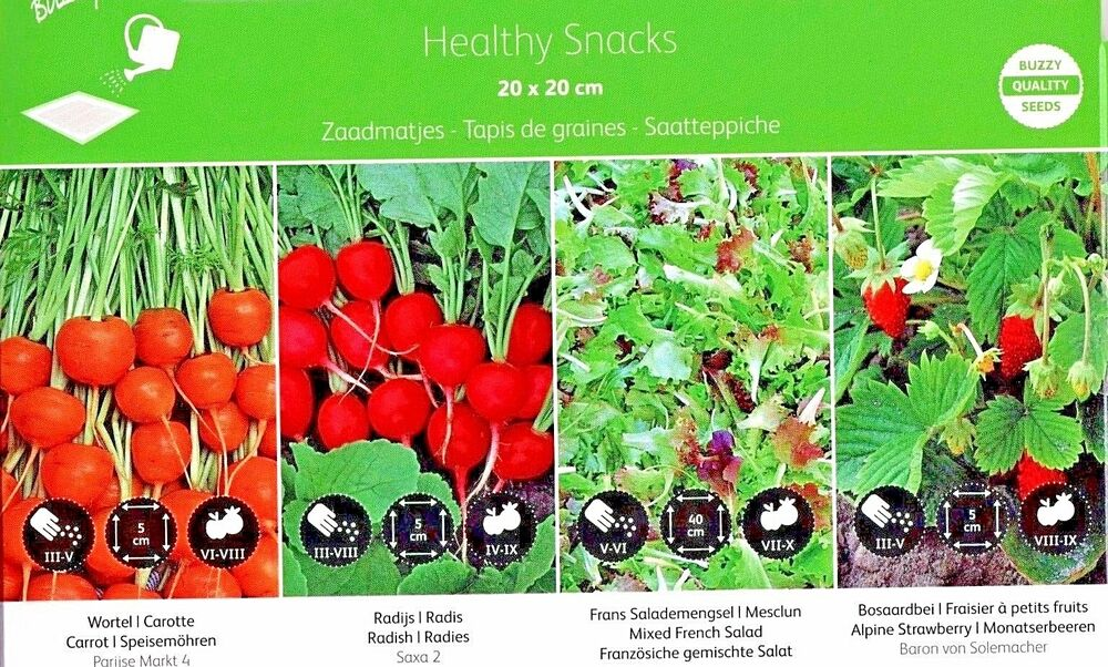 Healthy Snacks Seed Mats 4 Mats 4 Varieties Quality Seeds