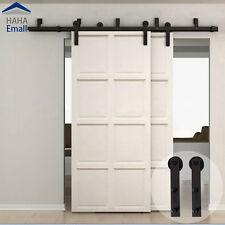 10ft Overlap Bypass Sliding Barn Double Door Hardware Closet Kit Interior Closet Ebay