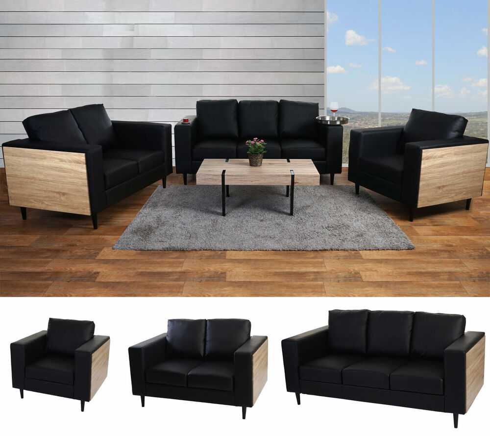 sofagarnit ur nancy loungesofa sessel 2er sofa 3er sofa holz eiche optik ebay. Black Bedroom Furniture Sets. Home Design Ideas