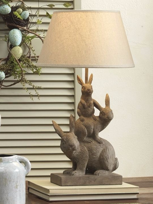 Lamp Stack Bunny Base Home Decor Table Top Light W Shade New 3720470 Electric Ebay