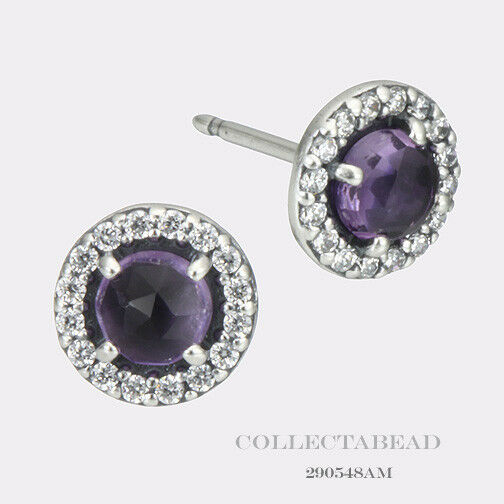 Pandora Silver Stud Earrings: Authentic Pandora Silver Amethyst Glamorous Stud Earrings