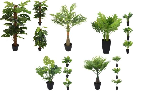 Large Artificial Plants Green Foliage Exotic Tropical Palm Fern Office or Home