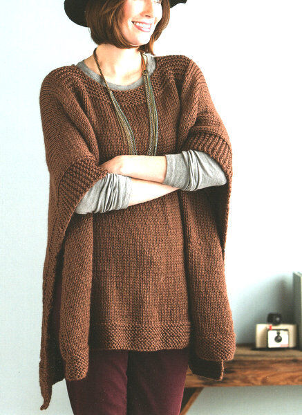 Easy Knitting Patterns For Beginners Poncho : Easy Beginner Womans Poncho One Size Chunky Wool ...