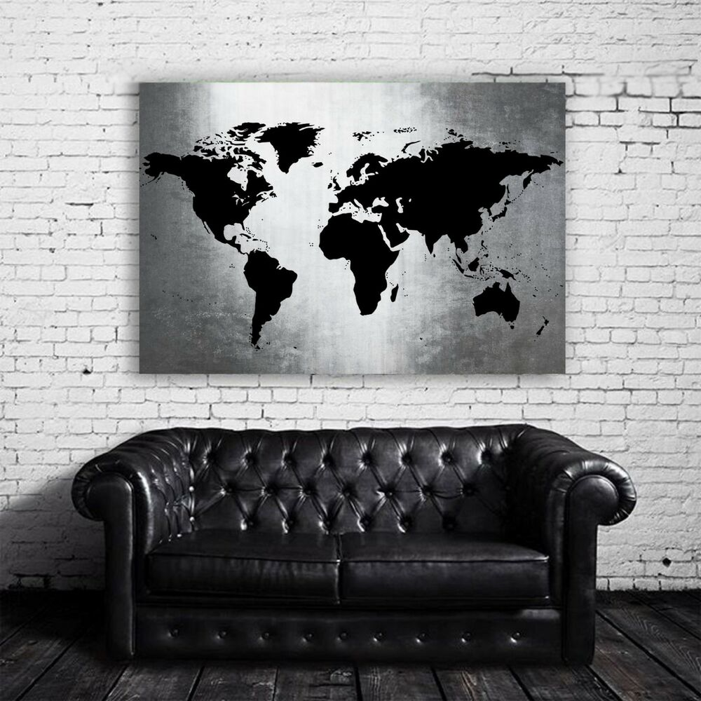 xl bild 100x76x5 loft design leinwand weltkarte auf metall gem lde schwarz weiss ebay. Black Bedroom Furniture Sets. Home Design Ideas
