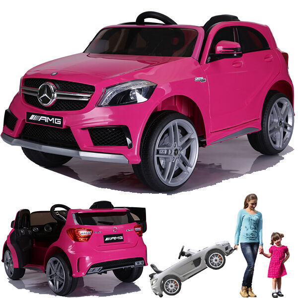 mercedes a45 amg kinderauto kinderfahrzeug kinder elektroauto gefedert 2xmt pink ebay. Black Bedroom Furniture Sets. Home Design Ideas