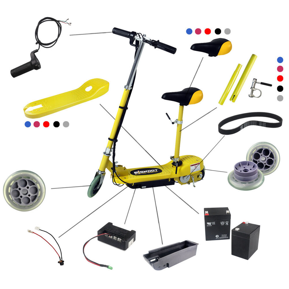 Kids Electric Scooter Spare Parts Battery Front Back Wheels Drive Belt Charger
