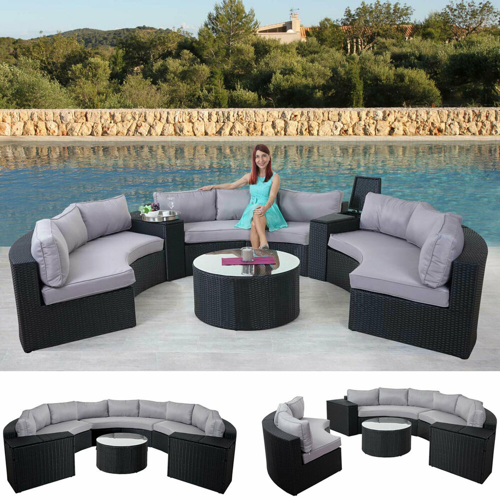 xxl luxus poly rattan garnitur savoie sitzgruppe lounge set rund anthrazit ebay. Black Bedroom Furniture Sets. Home Design Ideas