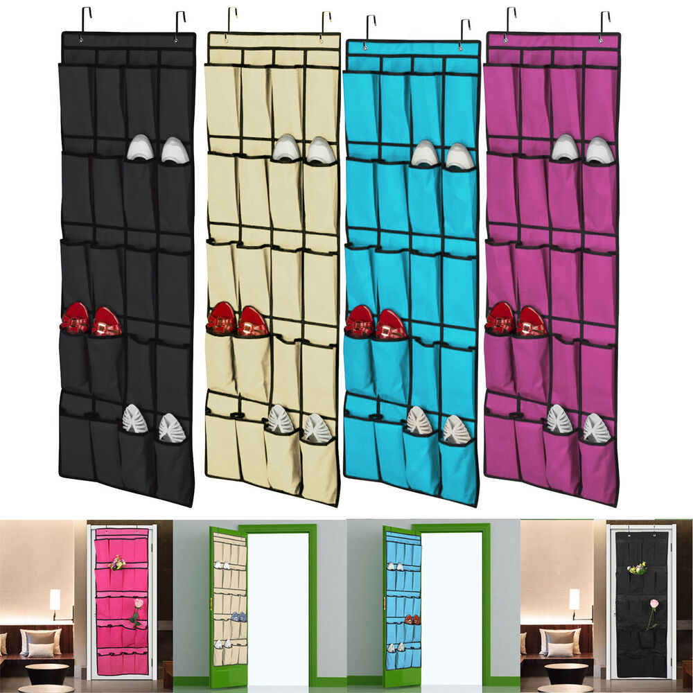 20 pocket over the door shoe organizer rack hanging storage space saver hanger ebay. Black Bedroom Furniture Sets. Home Design Ideas