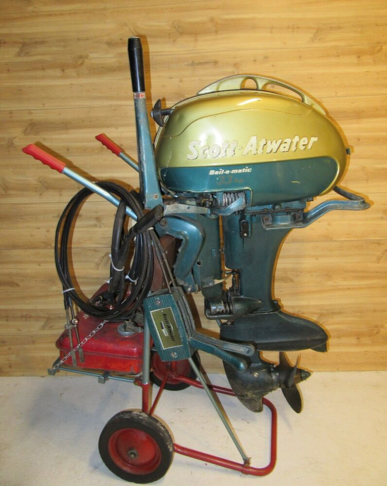 Antique1956 33 hp scott atwater outboard w controls dash for Outboard motor parts online