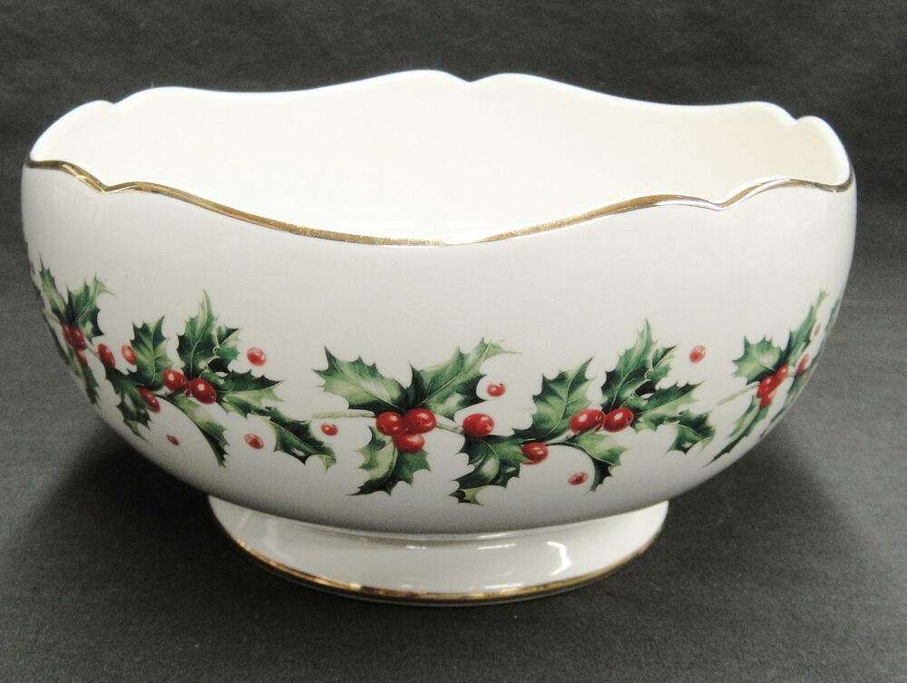 Lenox holly round serving bowl centerpiece teleflora gold