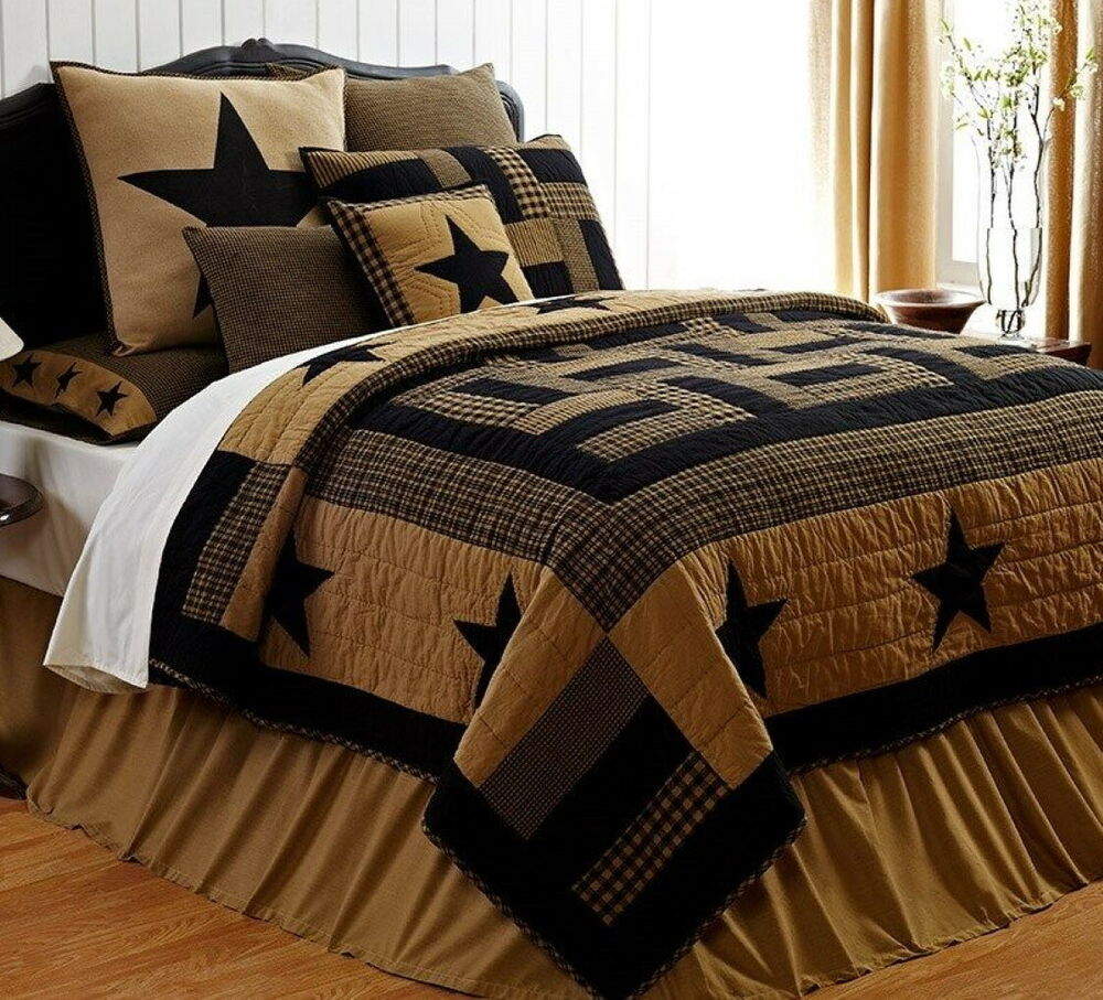 Delaware Star 7pc King Quilt Set Black Tan Plaid