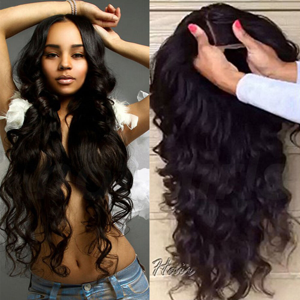 Real Brazilian Virgin Human Hair Full Front Lace Wigs Jet