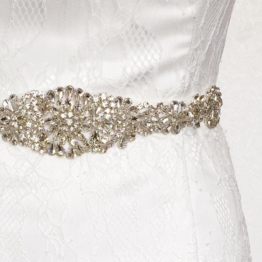 Vintage crystal rhinestone sash belt beaded bride wedding for Wedding dress belt sash