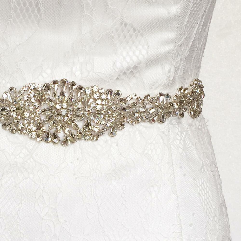 Vintage Crystal Rhinestone Sash Belt Beaded Bride Wedding