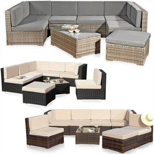 xxl rattanm bel gartenset polyrattan lounge gartenm bel sitzgruppe schwarz braun ebay. Black Bedroom Furniture Sets. Home Design Ideas