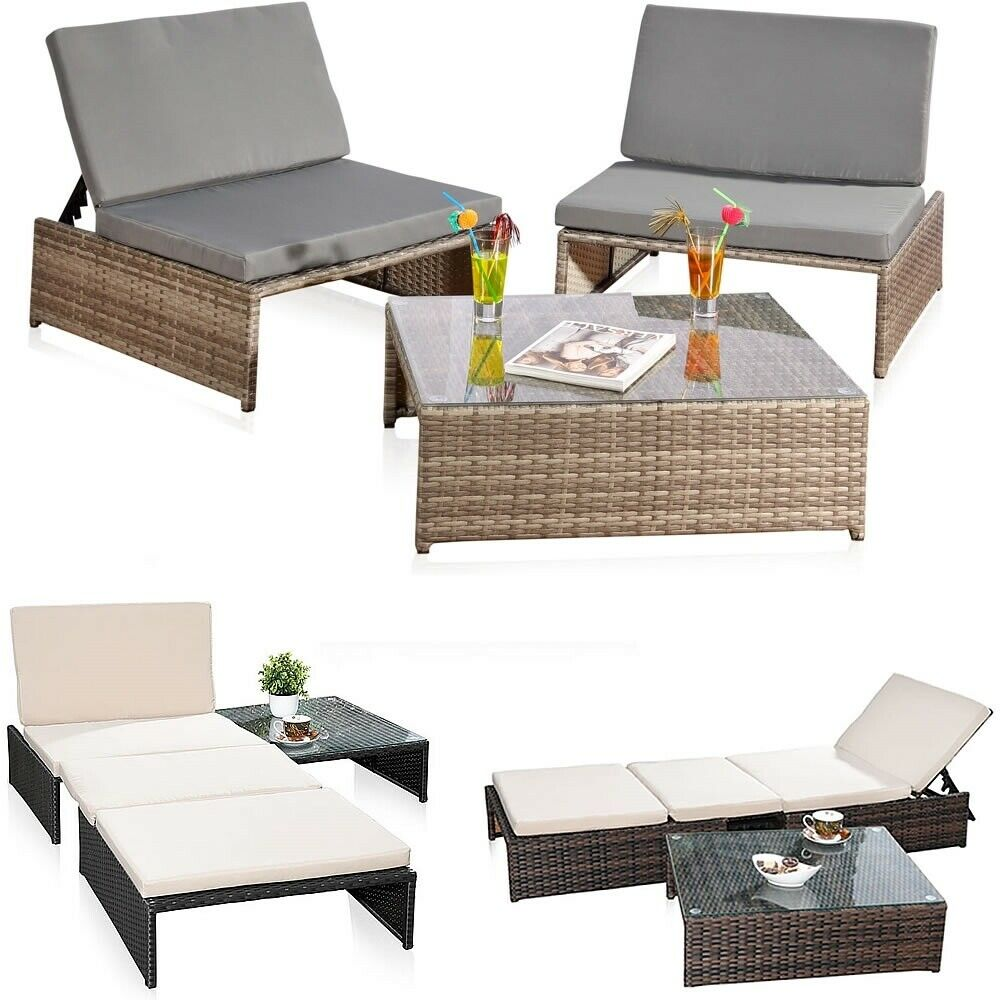 gartenset sitzgarnitur 2 sessel tisch gartenm bel lounge poly rattan ebay. Black Bedroom Furniture Sets. Home Design Ideas