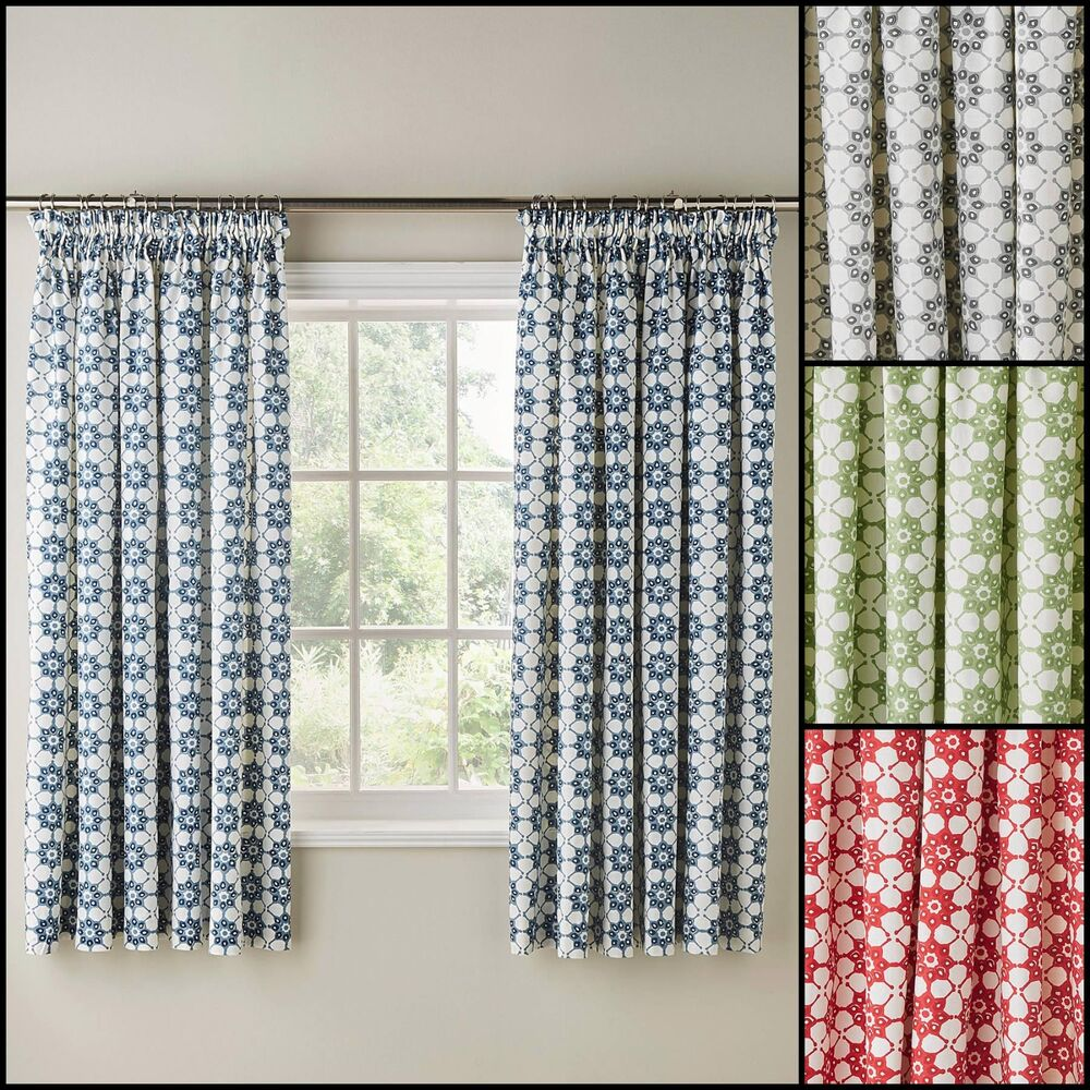 """Red And Gray Kitchen Curtains: Katie Floral Printed 3"""" Tape Top Kitchen Curtains - Four Colours Available"""