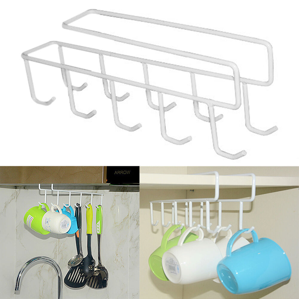 under shelf cup holder mug kitchen storage rack cupboard