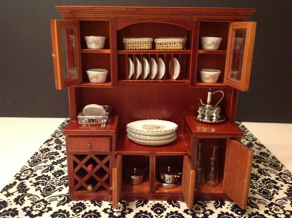 Dollhouse miniature furniture mahogany wood wine shelf cabinet 1 12 no food ebay Dollhouse wooden furniture
