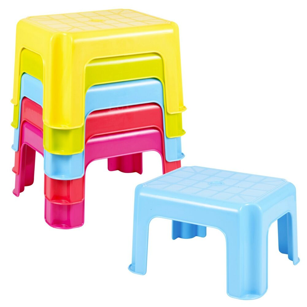 Multi Purpose Sturdy Plastic Step Stool Stackable Kids