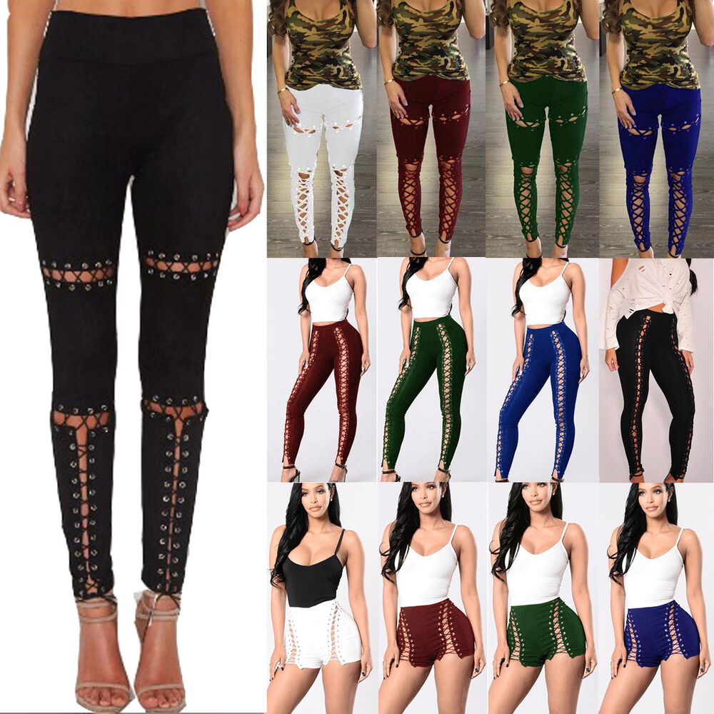 mode damen hose punk rave gothic r hren steampunk leggings strumpfhosen schn ren ebay. Black Bedroom Furniture Sets. Home Design Ideas