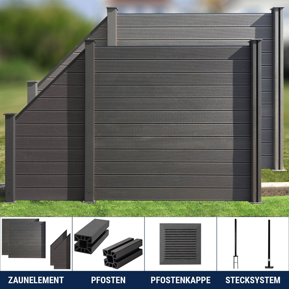 wpc zaun sichtschutz gartenzaun windschutz terrasse garten beton 180 x 180 cm ebay. Black Bedroom Furniture Sets. Home Design Ideas