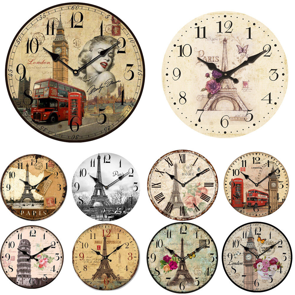 Vintage Rustic Wooden Wall Clock Antique Shabby Chic Retro
