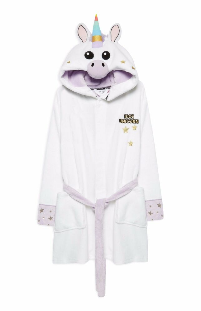 Primark Ladies UNICORN Dressing Gown Hooded Bathrobe Bath Robe | eBay