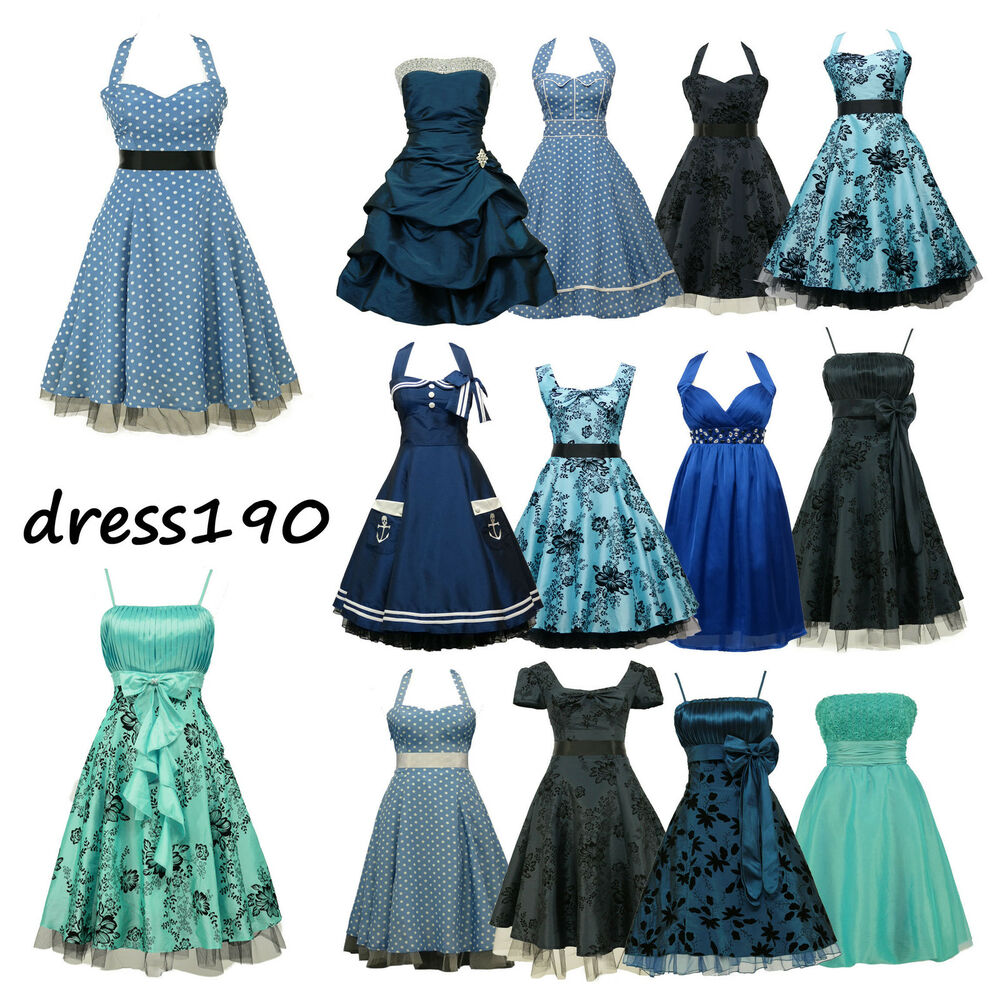 dress190 blue 50s rockabilly vintage pinup party cocktail. Black Bedroom Furniture Sets. Home Design Ideas