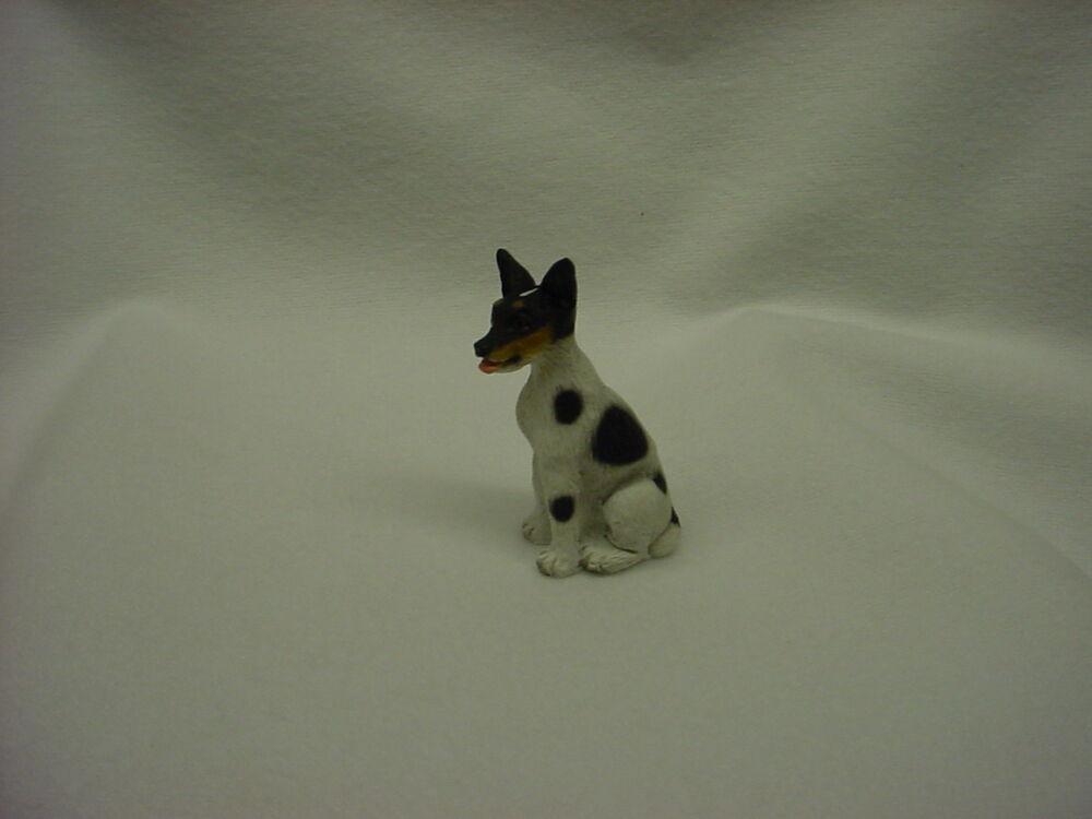 teacup rat terrier rat terrier black white puppy tiny dog figurine 582