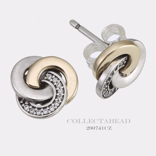Pandora Silver Stud Earrings: Authentic Pandora Silver & 14K Gold Interlinked Circles