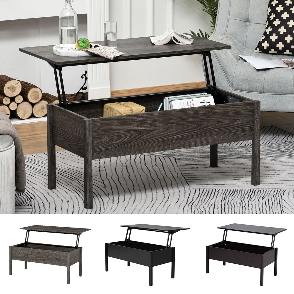 Kilburn Storage Coffee Table: Modern Lift Top Coffee End Table With Storage Space Living