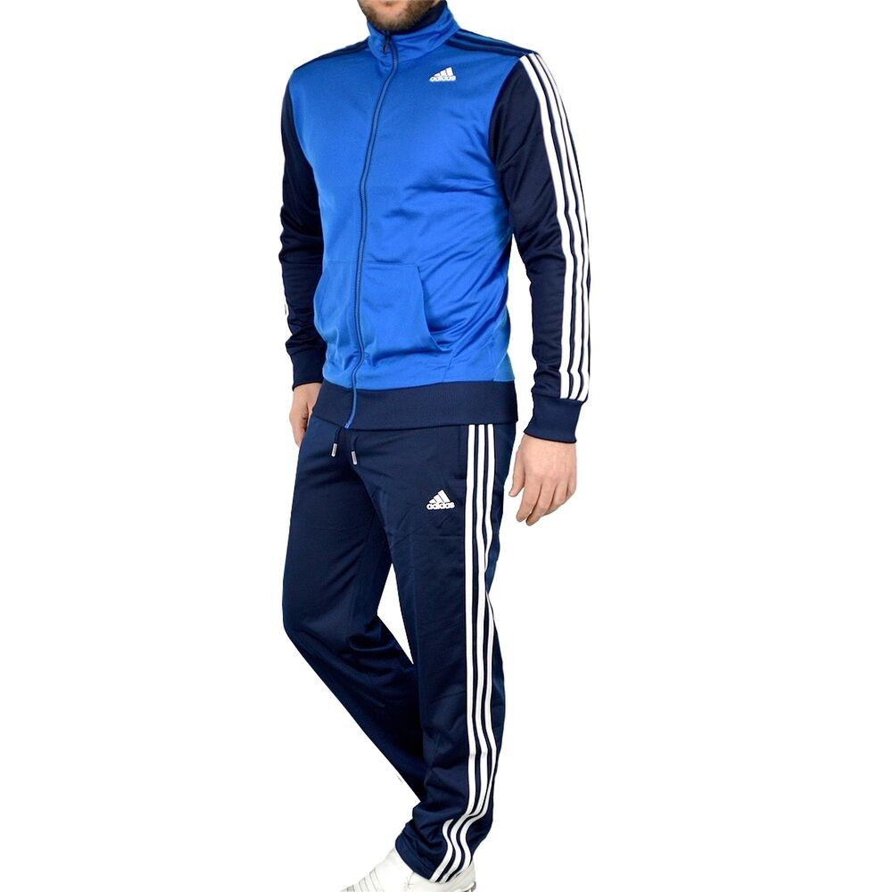 adidas herren trainingsanzug jogginganzug sport anzug track suit men blau navy ebay. Black Bedroom Furniture Sets. Home Design Ideas