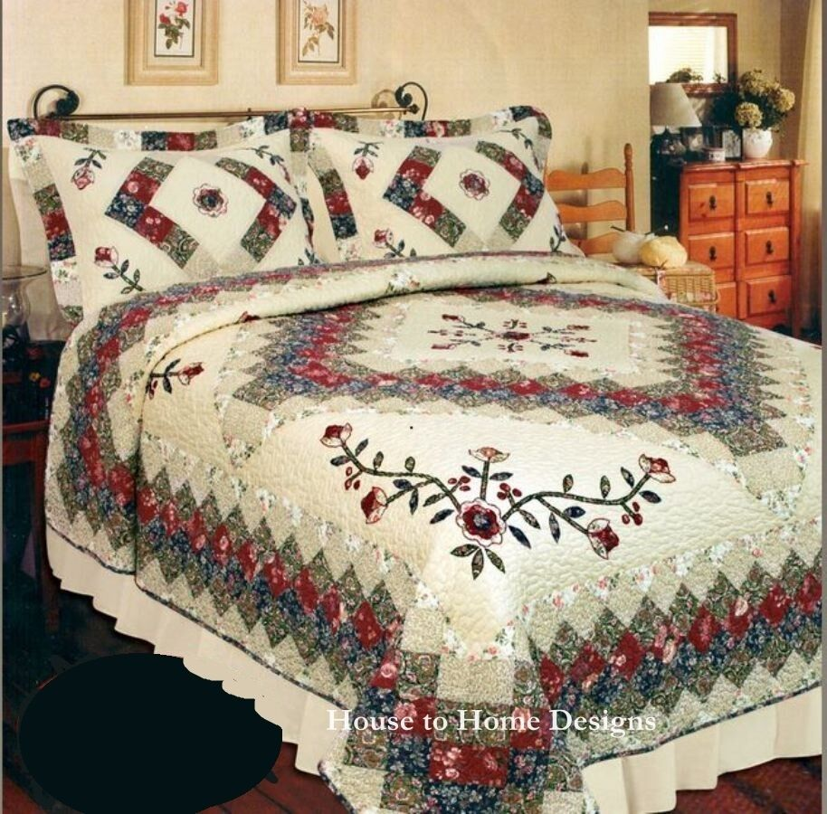 Victorian Treasures King Quilt Set Cream Ivory Red