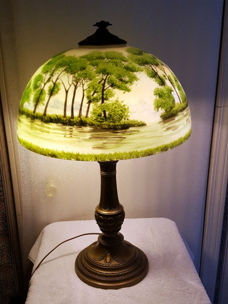 Antique Reverse Painted Lamp Forest Scene EBay