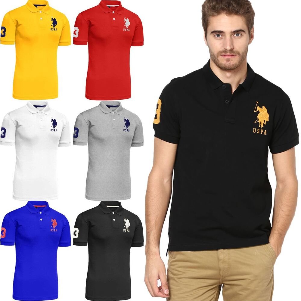New mens us polo assn pique t shirt shirt branded top for Mens polo dress shirts