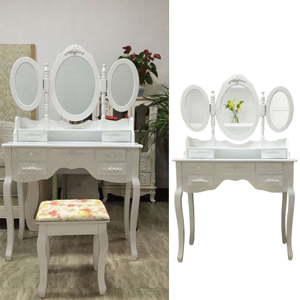 white dressing table vanity makeup with stool 7 drawers. Black Bedroom Furniture Sets. Home Design Ideas