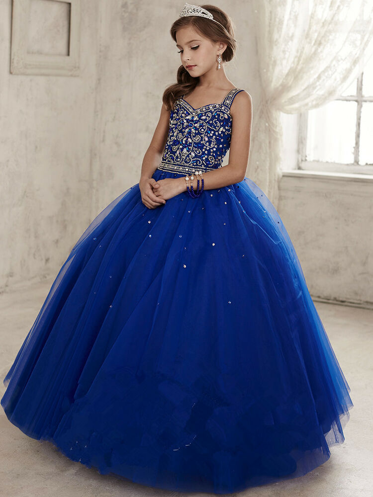 Princess flower girl dresses wedding party peagant for Wedding party dresses for girl