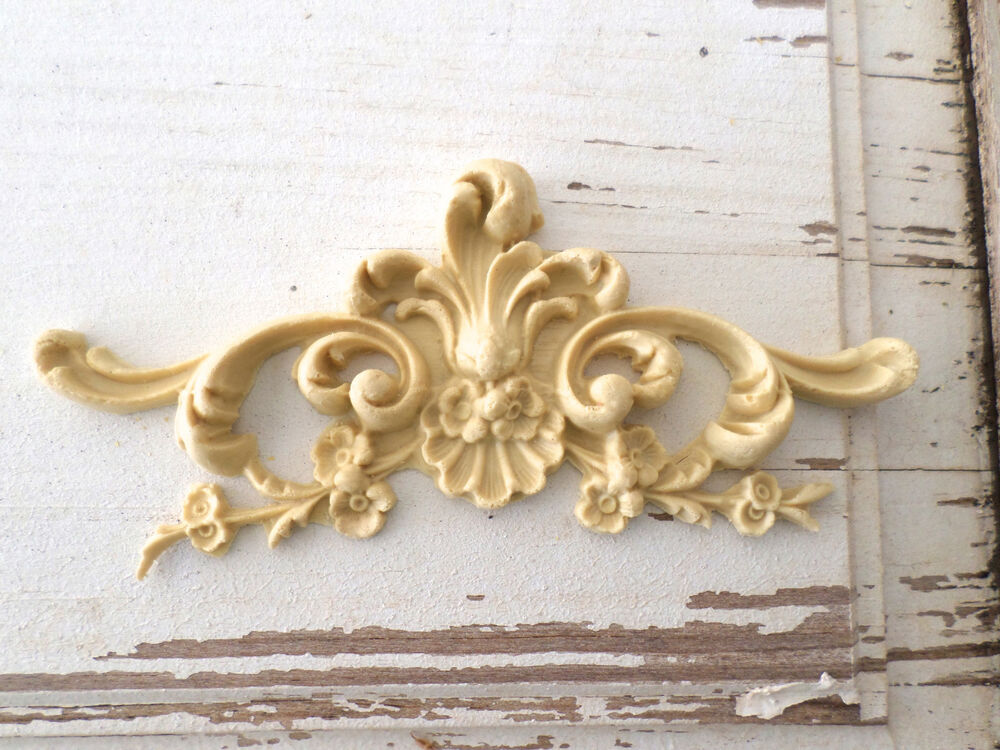 Architectural Carved Floral Crest Furniture Appliques Wood Resin Flexible Ebay
