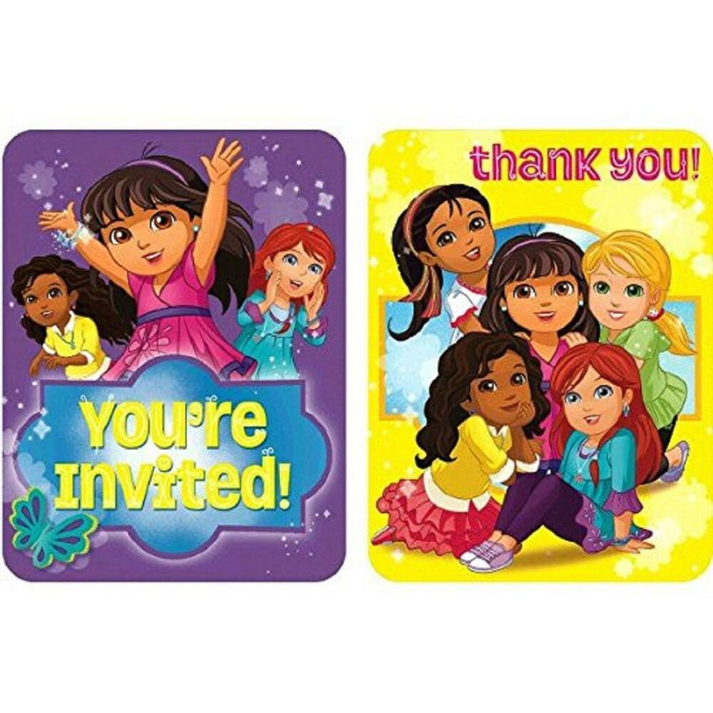 Details About Dora The Explorer Friends Nick Jr Birthday Party Invitations Thank You Notes