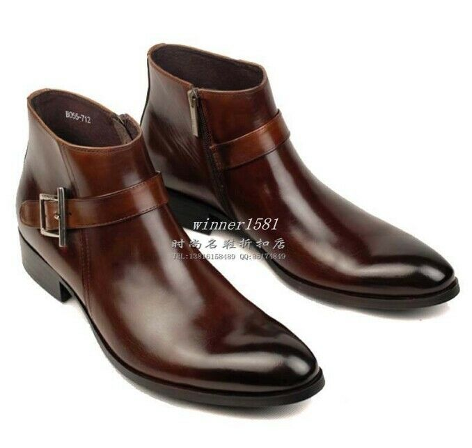 100 real genuine leather pointed toe buckle chelsea boots
