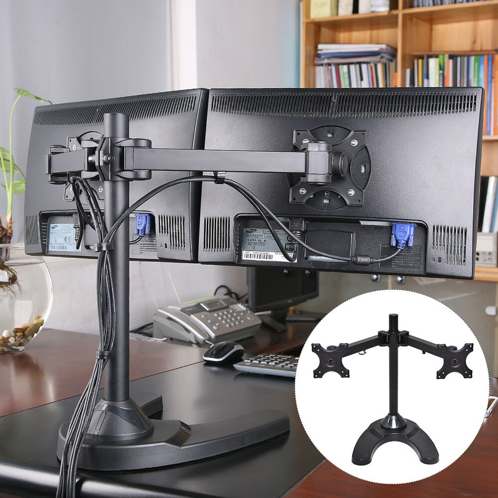 Adjustable Computer Monitor Desk Mount For Dual Lcd Flat