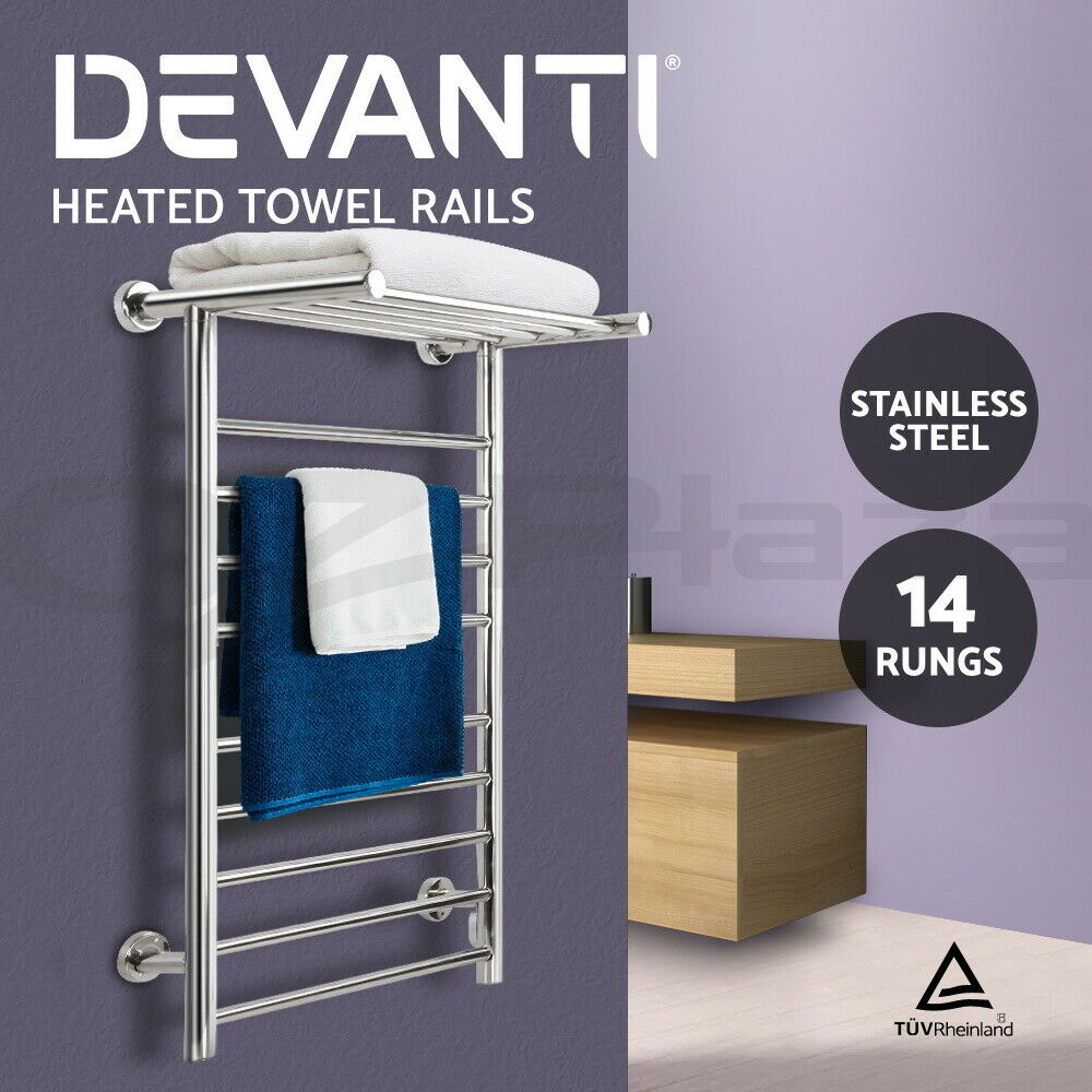 14 Rung Electric Heated Towel Rail: Stainless Steel Heated Towel Rail Warmer Clothes Electric