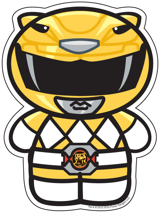 Mighty morphin power rangers cartoon yellow ranger sticker buy 1 get 1 ebay