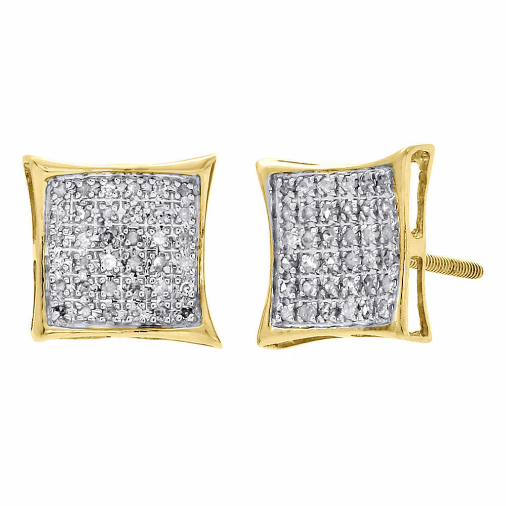 10k Yellow Gold Diamond Studs Concave Kite Pave Mens Ladies Earrings 025  Ct