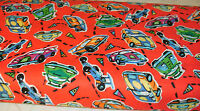 1 Yd. Children Quilt Fabric Speed Racer Allover on Red Racing Cars