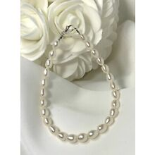 Genuine White Freshwater Pearl Sterling Silver Ankle Bracelet (2979) +Plus Sizes