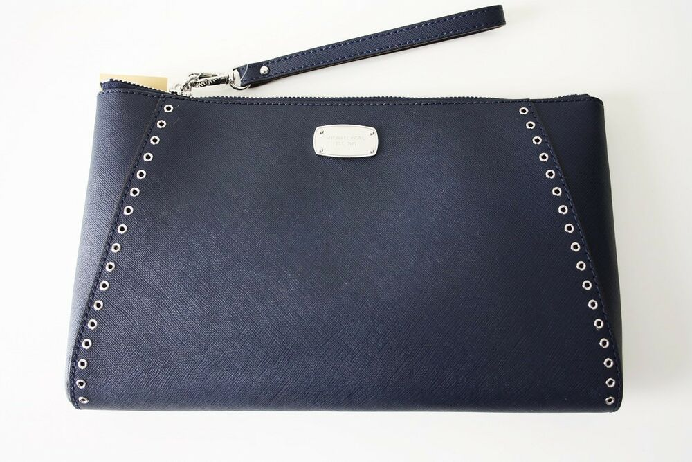 michael kors tasche clutch navy blau ciara grommet xl wristlet plq ebay. Black Bedroom Furniture Sets. Home Design Ideas