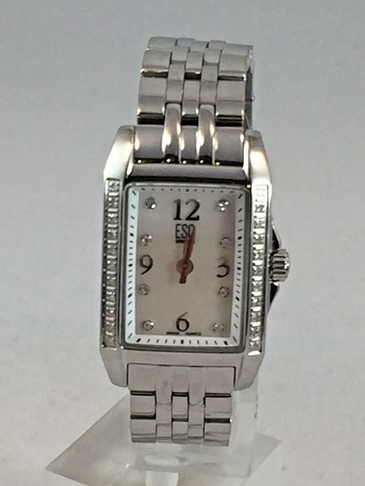 2153b8b1481 Details about Ladies ESQ Movado 07101297 Capri Stainless Steel Diamond  Accent MOP Dial Watch