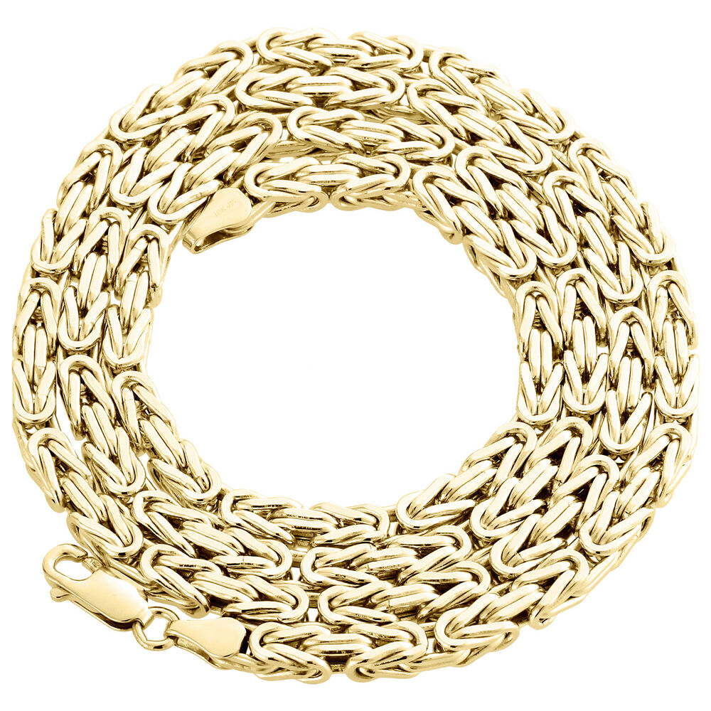 Mens Gold Byzantine Necklace: Mens Real 10K Yellow Gold Box Byzantine Link Chain 4mm